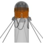 Система шарнирного закрепления троссовой системы качелей в стойке трехсторонняя