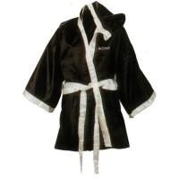 Боксерский халат с капюшоном бело-черный разм. S, М, L, XL, XXL, XXXL