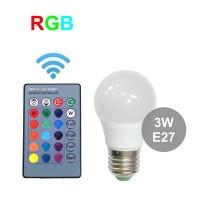 Лампа RGB 3 Вт  с обычным цоколем E27 с пультом управления