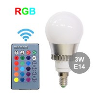 НОВИНКА!!! Лампа RGB (  РГБ ) с пультом управления на 3 Вт, цоколь Е14 ( тонкий )