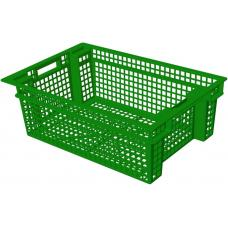 Ящик для овощей 60 х 40 х 20 см из первичного полиэтилена зеленый