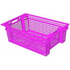 Ящик для овощей 60 х 40 х 20 см из первичного полиэтилена розовый