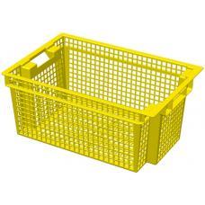 Ящик для овощей 60 х 40 х 27 см из первичного полиэтилена желтый