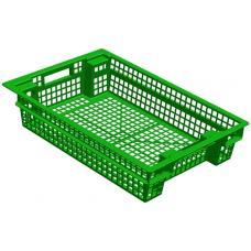 Ящик для овощей 60 х 40 х 13 см из первичного полиэтилена зеленый