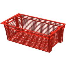Ящик для овощей 80 х 40 х 27 см из первичного полиэтилена красный