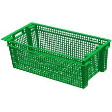 Ящик для овощей 80 х 40 х 27 см из первичного полиэтилена зеленый