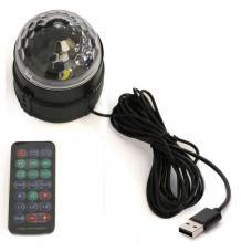 Диско-фонарь RGB 5 Вт с пультом управления с коннектором USB